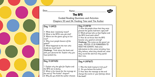 Guided Reading Questions Chapters 23 and 24 to Support Teaching on The BFG - bfg, guided