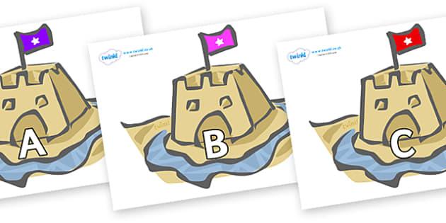 A-Z Alphabet on Sand Castles - A-Z, A4, display, Alphabet frieze, Display letters, Letter posters, A-Z letters, Alphabet flashcards