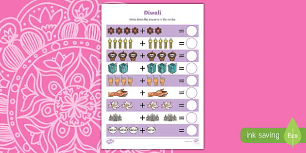 Diwali Up to 10 Addition Sheet