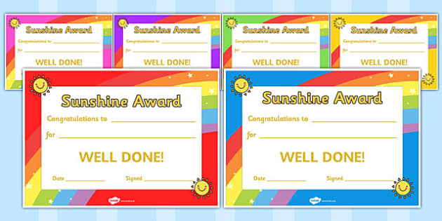 Sunshine Award Certificates - sunshine, award, certificates