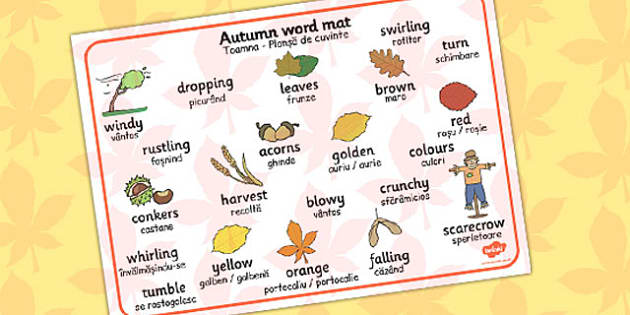 Autumn Word Mat Romanian Translation - romanian, autumn, mat