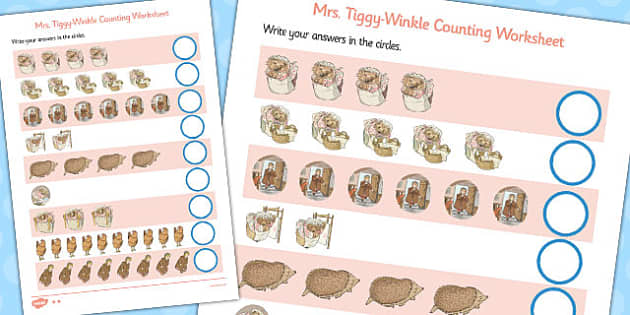 The Tale of Mrs Tiggy Winkle Counting Sheet - mrs tiggy winkle