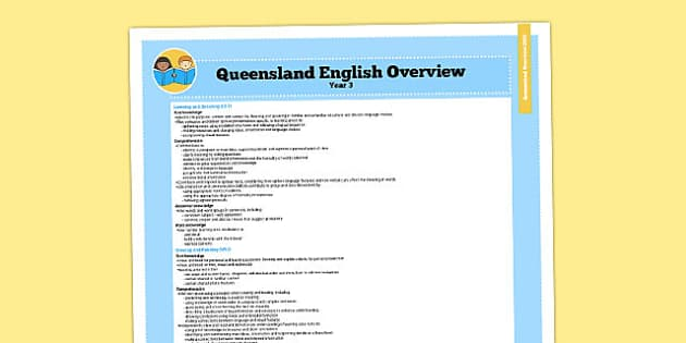 Queensland Curriculum Year 3 English Literacy Syllabus Overview - australia