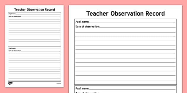 ROI Teacher Observation Record-Irish