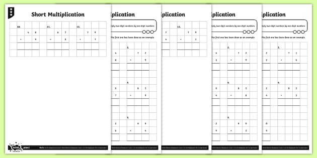 Short Multiplication Activity Sheets - Y4 Multiplication and Division Planit Maths, multiply, groups of, lots of, product, times, sets of,