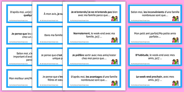 General Conversation Question Prompt Cards Me My Family and Friends - french, Conversation, Speaking, Questions, Family, Friends, Relationships, Marriage, Rapports, Mariage, Famille, Amis, Copains, Cards, Cartes