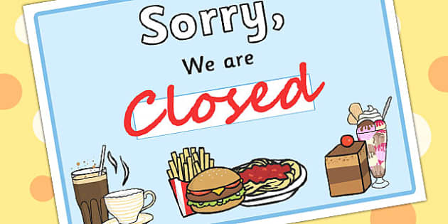 Restaurant Role Play Pack Closed Sign - food, roleplay, props