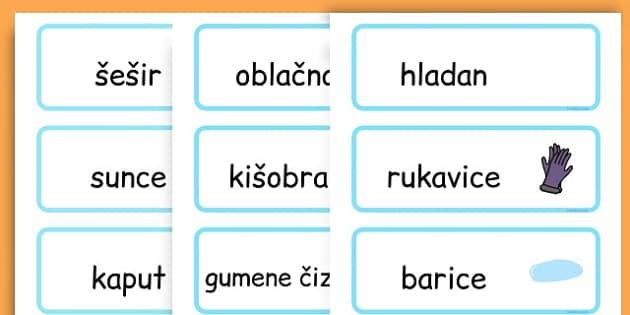 Winter Word Cards - seasons, weather, key words, visual aids  - Bosnian
