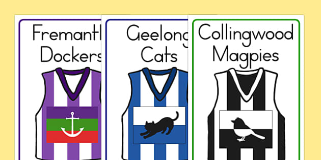 AFL Australian Football League Football Shirt Flashcards - sport