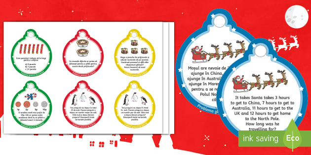 KS1 Christmas Maths Challenge Baubles Romanian Translation - romanian, ks1, christmas, maths, challenge, baubles
