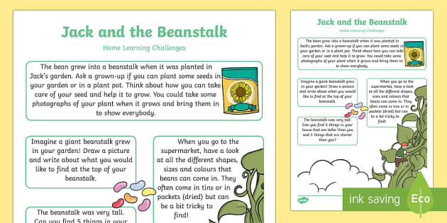 Jack and the Beanstalk EYFS Home Learning Challenge Sheet Nursery FS1 - EYFS, homework, Early years, traditional tales