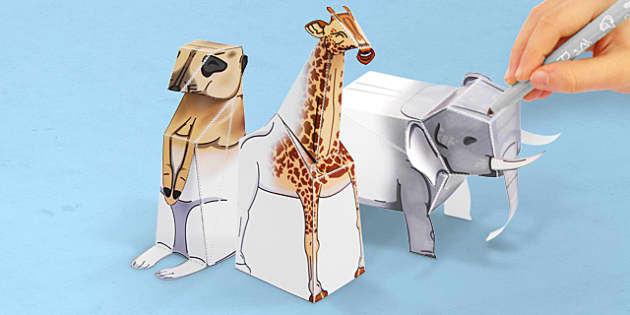 3D Safari Paper Model Activity Pack - 3d, safari, model, pack