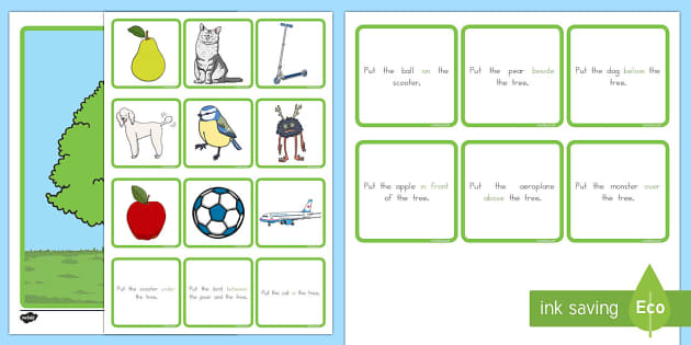 Preposition Tree Game - australia, SEN, direction, position, prepositional, langauge, maths, shape, space, measures