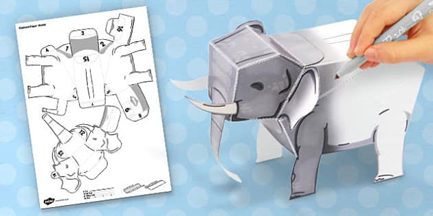 3D Elephant Paper Model Activity - paper, toy, model, cube, fold