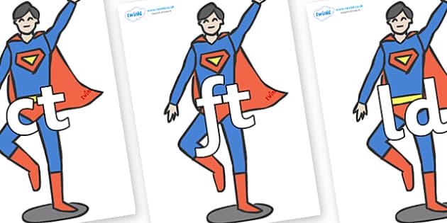 Final Letter Blends on Superheroes (Plain) - Final Letters, final letter, letter blend, letter blends, consonant, consonants, digraph, trigraph, literacy, alphabet, letters, foundation stage literacy