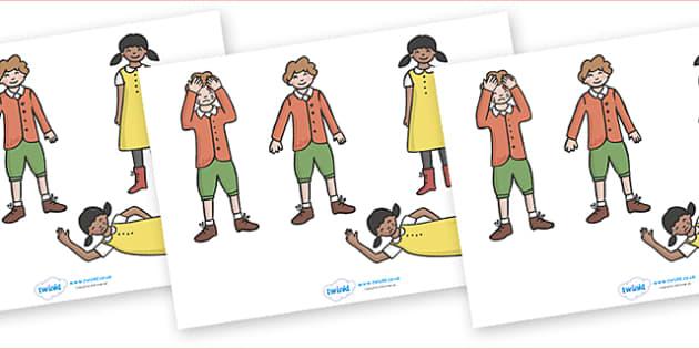 Jack and Jill Stick Puppets - Jack and Jill, nursery rhyme, stick puppet, rhyme, rhyming, nursery rhyme story, nursery rhymes, Jack and Jill resources