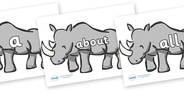 100 High Frequency Words on Rhinos - High frequency words, hfw, DfES Letters and Sounds, Letters and Sounds, display words