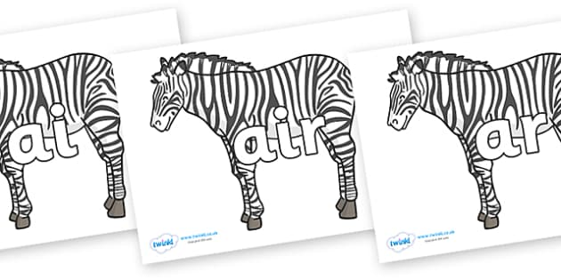 Phase 3 Phonemes on Zebras - Phonemes, phoneme, Phase 3, Phase three, Foundation, Literacy, Letters and Sounds, DfES, display