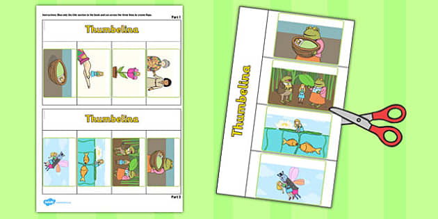Thumbelina Story Writing Flap Book - flap book, thumbelina, story
