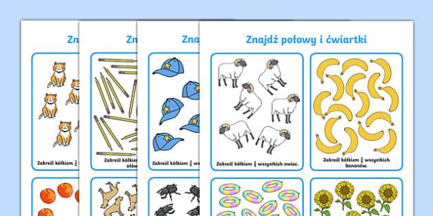 Karta Znajdź połowy i ćwiartki po polsku, worksheet