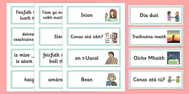 Greetings Flashcards Gaeilge - gaeilge, greetings, flashcards, flash cards