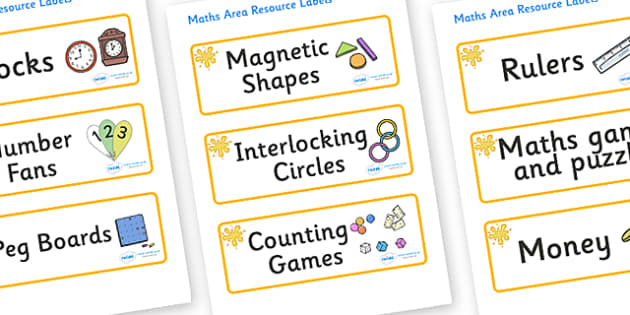 Orange Themed Editable Maths Area Resource Labels - Themed maths resource labels, maths area resources, Label template, Resource Label, Name Labels, Editable Labels, Drawer Labels, KS1 Labels, Foundation Labels, Foundation Stage Labels, Teaching Labe