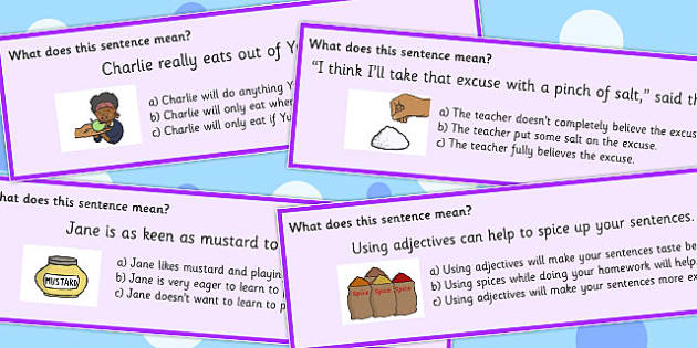 Food Idioms Multiple Choice Cards Set 3 - food, idioms, choice, set