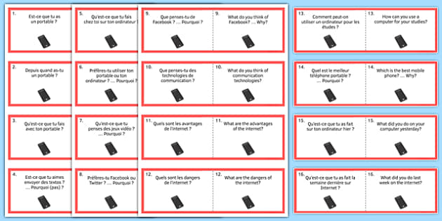 General Conversation Question Double Sided Cards French English Technology in Everyday Life - french, Conversation, Speaking, Questions, Teschnology, Technologie, Social Media, Mobile, Internet, Computer, Ordinateur, Portable, Réseaux, Sociaux, Carte
