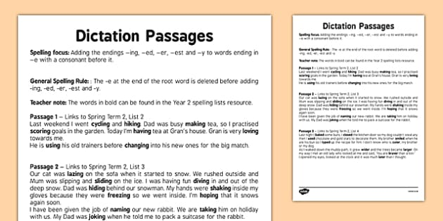 Dictation Passages - Adding the Endings -ing -ed -er -est and -y to Words Ending in 'e' With a Consonant Before - spelling, suffix, grammar, SPaG, verb, noun, comparative, adjectives