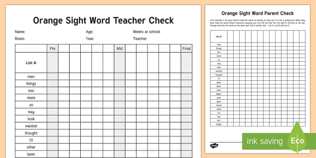 Orange Reading Sight Words Checklist - Literacy, Reading, orange Sight Words, Orange, Colour Wheel, English, new zealand, nz