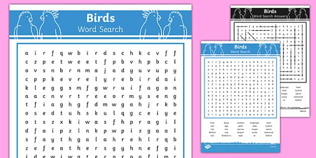 Australian Animals Years 3-6 Birds Word Search - australia, Australian Curriculum, animals, birds, activity, wordsearch