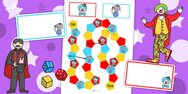 Circus Themed Editable Board Game - wet play, games, activities