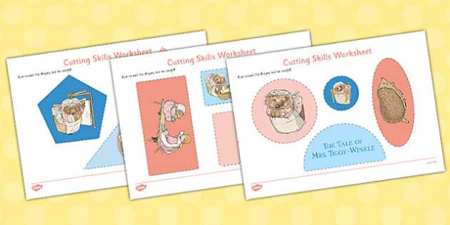 The Tale of Mrs Tiggy Winkle Cutting Skills Worksheet - mrs tiggy winkle