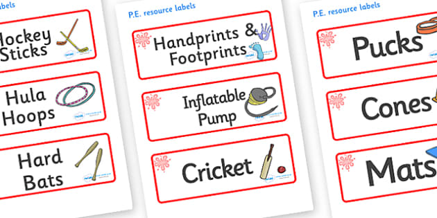 Red Themed Editable PE Resource Labels - Themed PE label, PE equipment, PE, physical education, PE cupboard, PE, physical development, quoits, cones, bats, balls, Resource Label, Editable Labels, KS1 Labels, Foundation Labels, Foundation Stage Labels