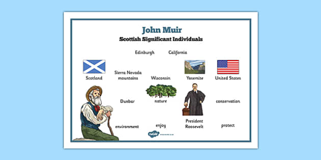 Scottish Significant Individuals John Muir Word Mat - Scottish significant individual, conservation, National Parks, Yosemite, Sierra Nevada, United States