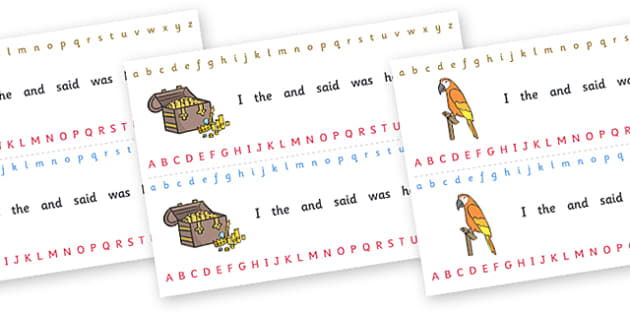 Alphabet Strips (Pirates) - Alphabet, Learning letters, Writing aid, Writing Area, pirate, pirates, treasure, ship, jolly roger, ship, island, ocean