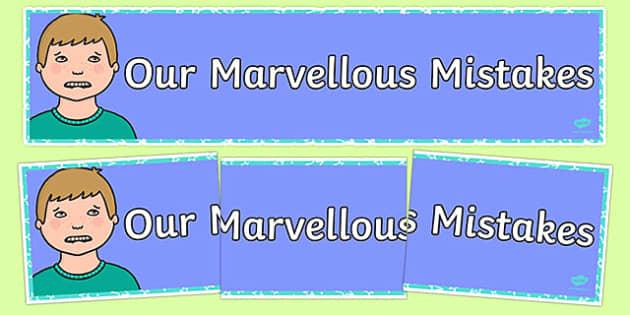 Growth Mindset Marvellous Mistakes Display Banner-Australia