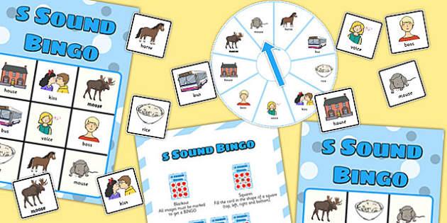 Final 'S' Sound Spinner Bingo - s sound, final, spinner, bingo