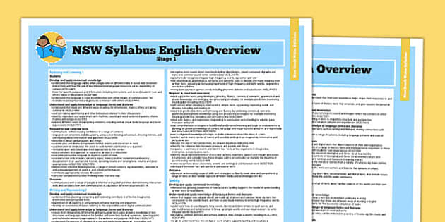 Australia NSW Syllabus English Stage 1 Overview - australia, syllabus