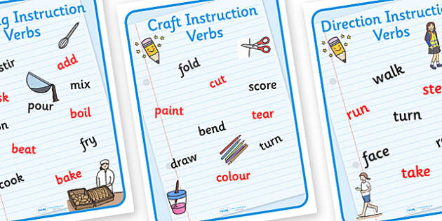 Instruction Verbs Display Posters - instruction verbs, instruction verbs posters, instruction posters, instruction word posters, verbs posters, ks2 english