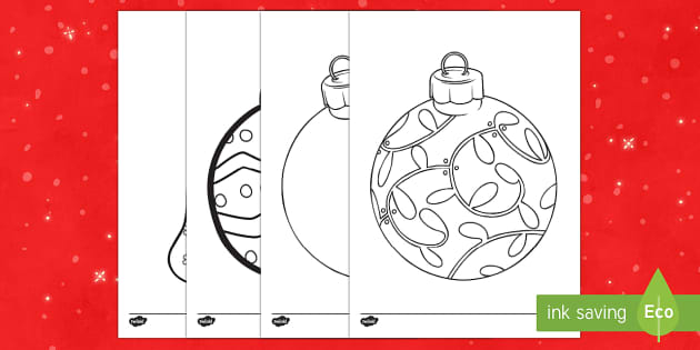 Large Christmas Baubles Colouring Pages