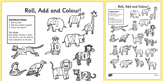 Safari Roll and Colour Activity Sheets- jungle, animals, safari games