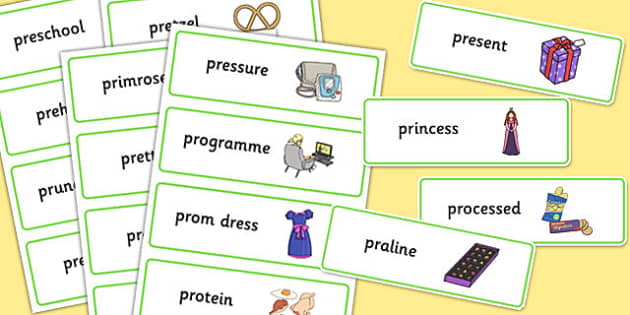Two Syllable PR Word Cards - sen, sound, pr sound, pr, sen, two syllable, word cards
