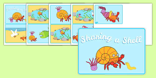 Story Sequencing Cards to Support Teaching on Sharing a Shell - sequence, stories, books