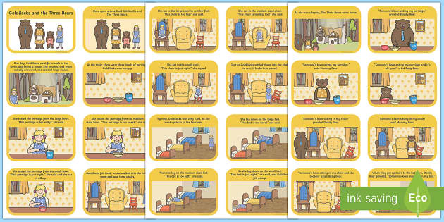 Goldilocks and the Three Bears Cut and Stick Story Sequencing Activity ...