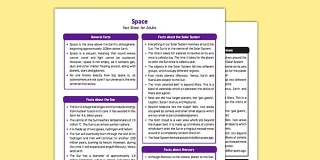 Space Fact Sheet for Adults - EYFS, Whatever Next, Aliens Love Underpants, Solar System, Planets