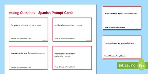General Conversation Travel & Tourism Question Prompt Cards