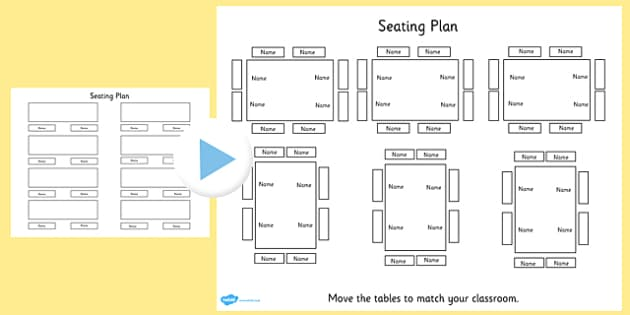 Editable Table Seating Plan PowerPoint - table, seating plan