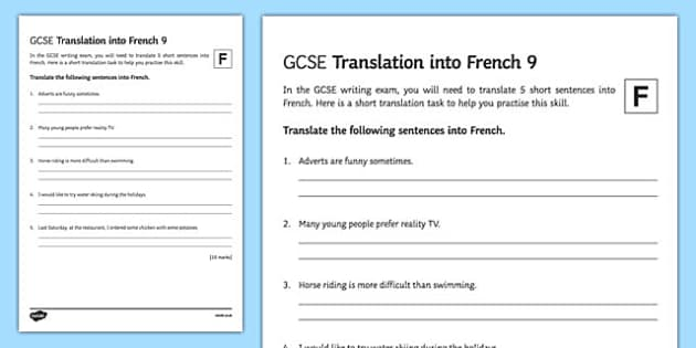 GCSE French: Translation into French -   Foundation Tier Activity Sheet 9, worksheet