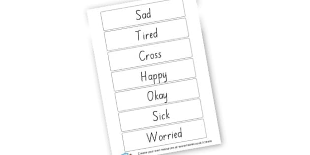Feelings Labels - My Emotions Literacy Primary Resources, emotion, feeling, happy